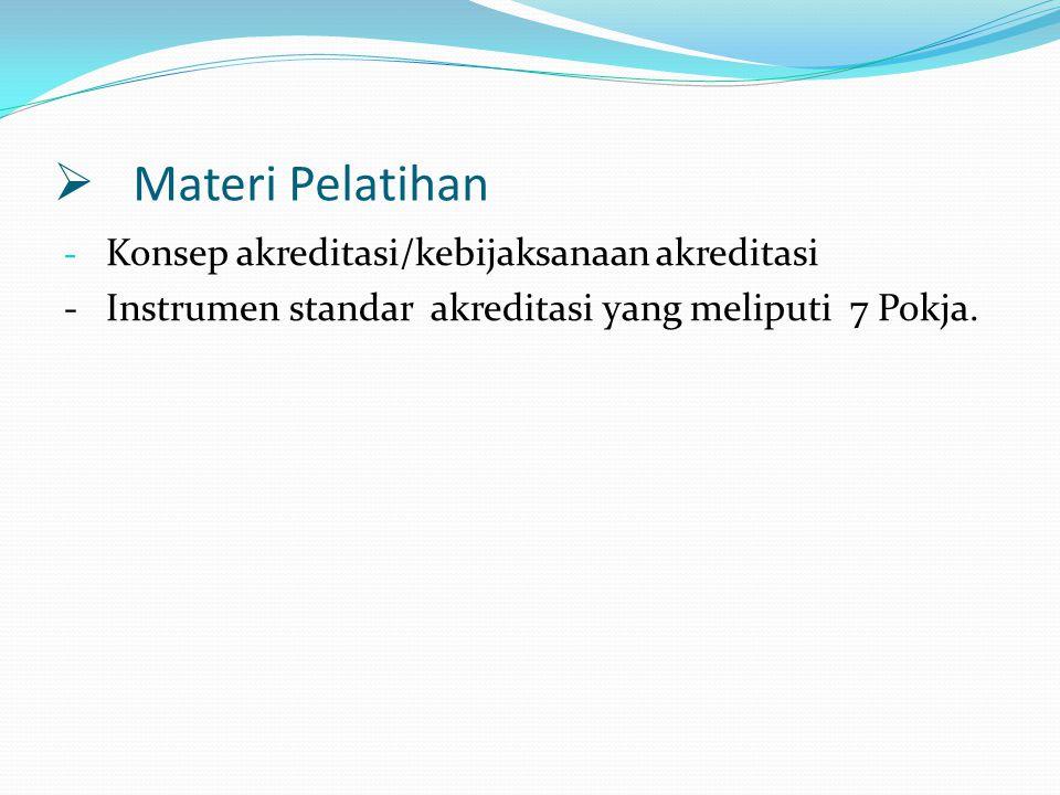Materi Pelatihan Konsep akreditasi/kebijaksanaan akreditasi