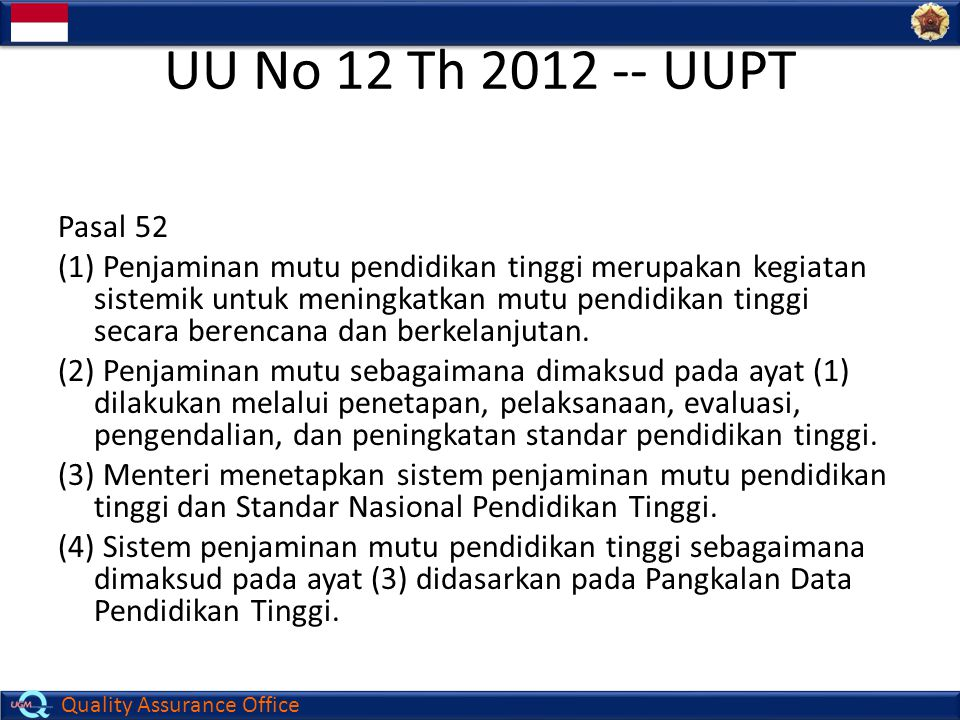 UU No 12 Th 2012 -- UUPT Pasal 52.