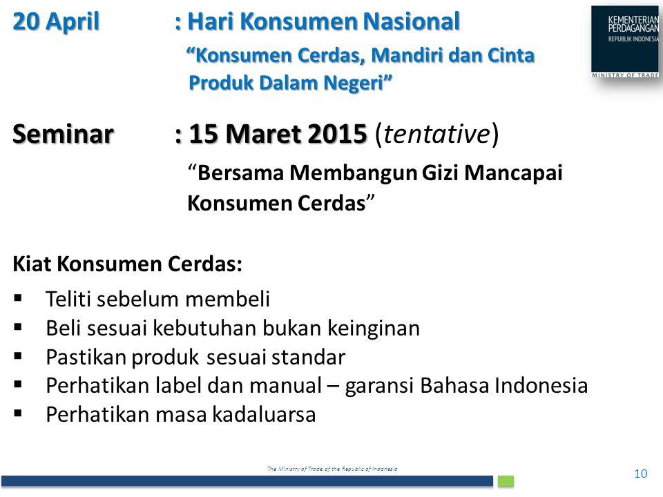 Seminar : 15 Maret 2015 (tentative)