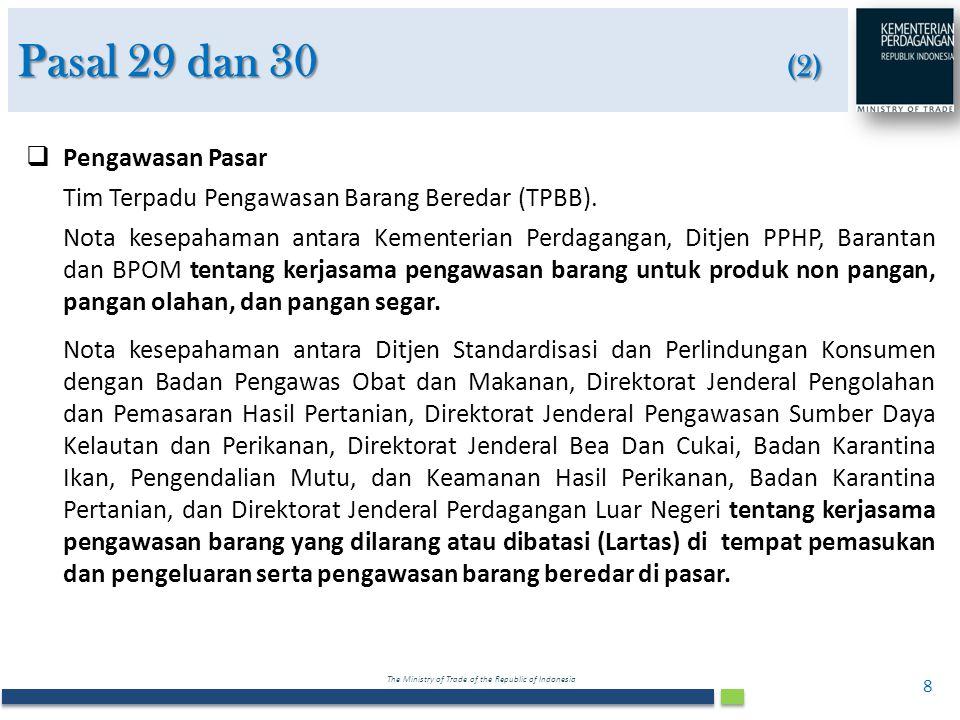Pasal 29 dan 30 (2) Pengawasan Pasar