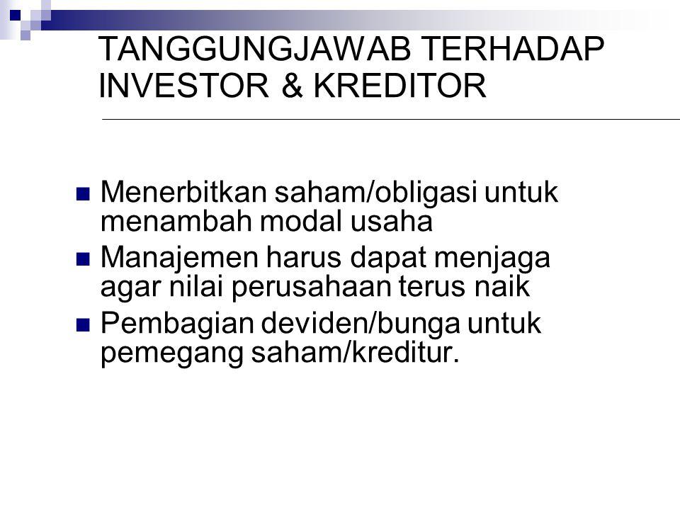 TANGGUNGJAWAB TERHADAP INVESTOR & KREDITOR