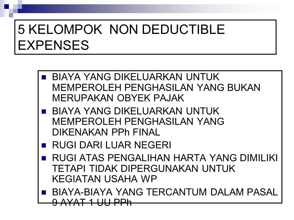 5 KELOMPOK NON DEDUCTIBLE EXPENSES