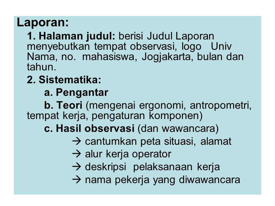 Laporan: 1. Halaman judul: berisi Judul Laporan menyebutkan tempat observasi, logo Univ Nama, no. mahasiswa, Jogjakarta, bulan dan tahun.