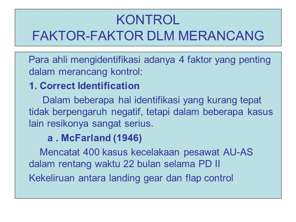 KONTROL FAKTOR-FAKTOR DLM MERANCANG