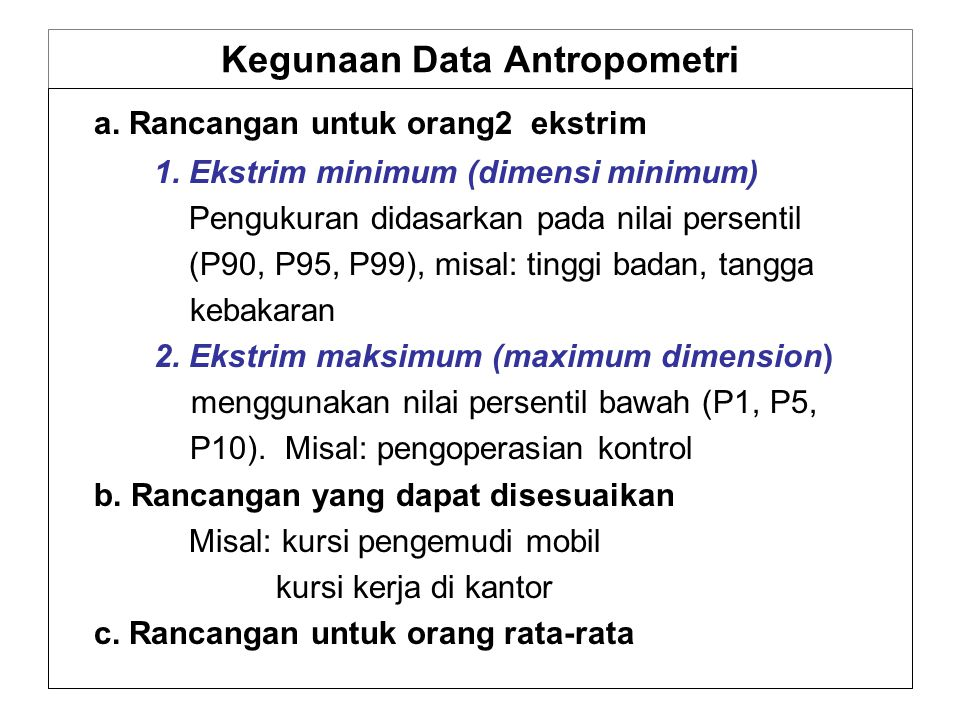 Kegunaan Data Antropometri