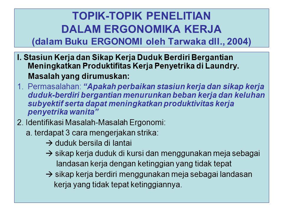TOPIK-TOPIK PENELITIAN DALAM ERGONOMIKA KERJA (dalam Buku ERGONOMI oleh Tarwaka dll., 2004)