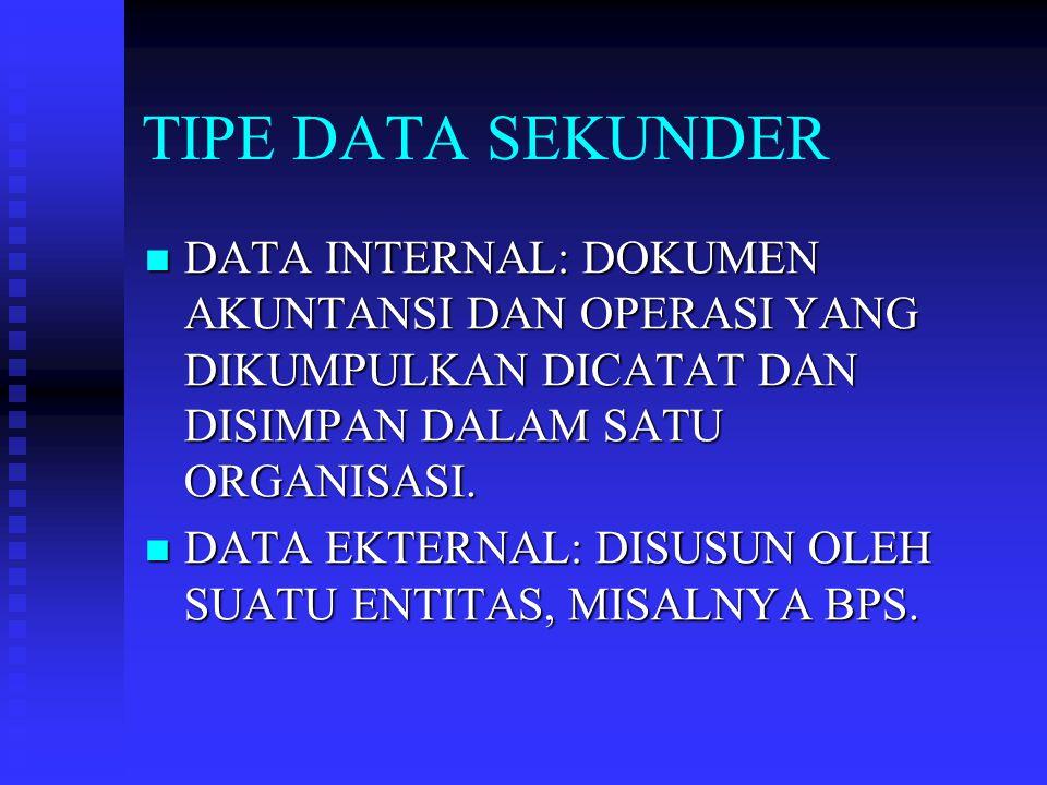 TIPE DATA SEKUNDER DATA INTERNAL: DOKUMEN AKUNTANSI DAN OPERASI YANG DIKUMPULKAN DICATAT DAN DISIMPAN DALAM SATU ORGANISASI.