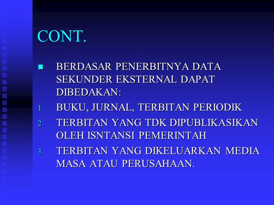 CONT. BERDASAR PENERBITNYA DATA SEKUNDER EKSTERNAL DAPAT DIBEDAKAN: