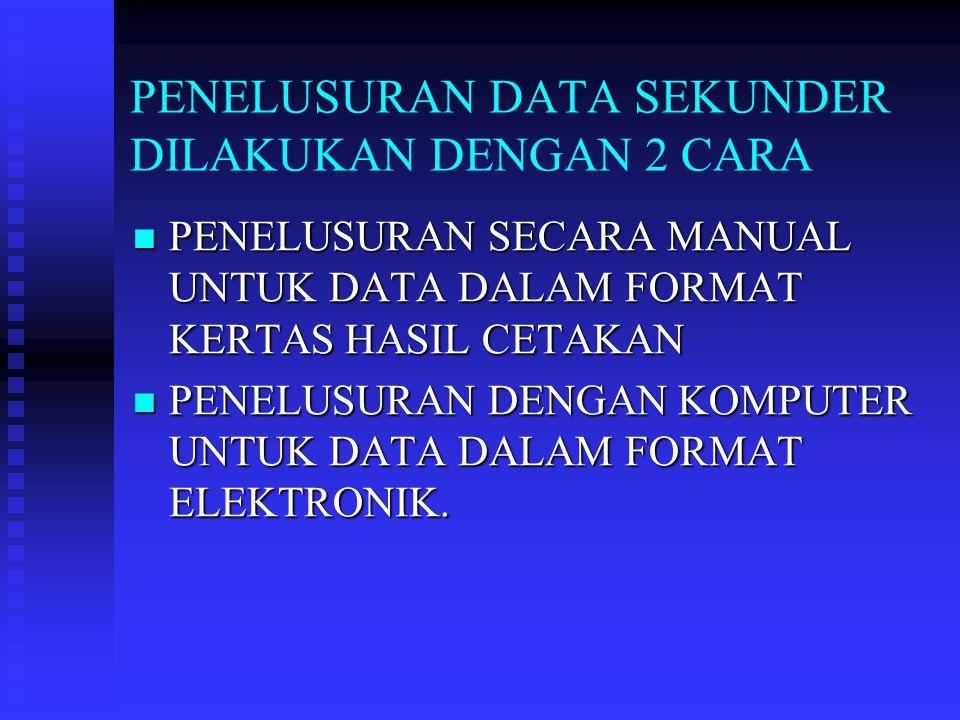 PENELUSURAN DATA SEKUNDER DILAKUKAN DENGAN 2 CARA