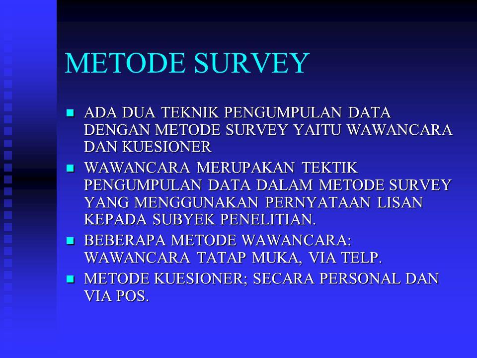 METODE SURVEY ADA DUA TEKNIK PENGUMPULAN DATA DENGAN METODE SURVEY YAITU WAWANCARA DAN KUESIONER.