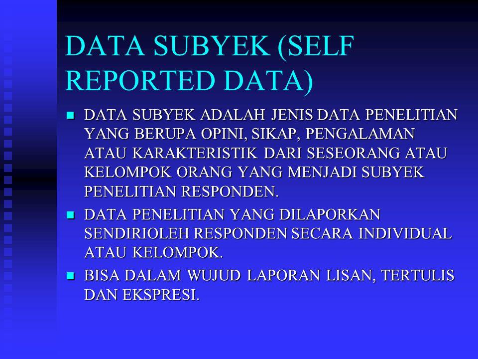 DATA SUBYEK (SELF REPORTED DATA)