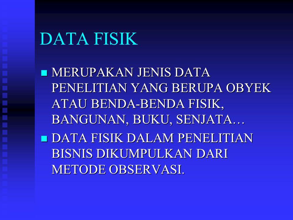 DATA FISIK MERUPAKAN JENIS DATA PENELITIAN YANG BERUPA OBYEK ATAU BENDA-BENDA FISIK, BANGUNAN, BUKU, SENJATA…