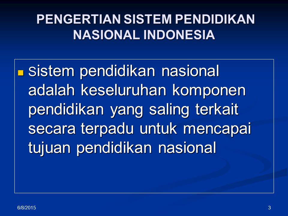 PENGERTIAN SISTEM PENDIDIKAN NASIONAL INDONESIA