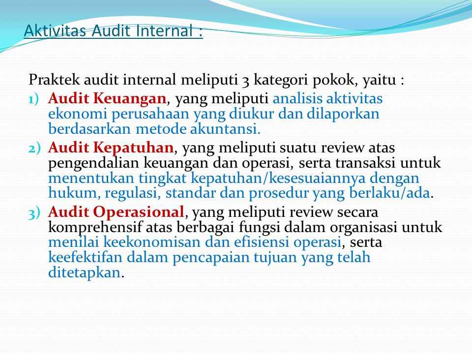 Aktivitas Audit Internal :