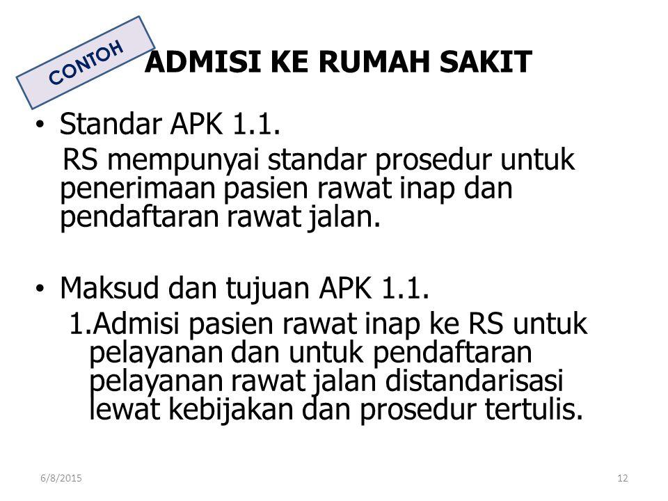 ADMISI KE RUMAH SAKIT Standar APK 1.1.