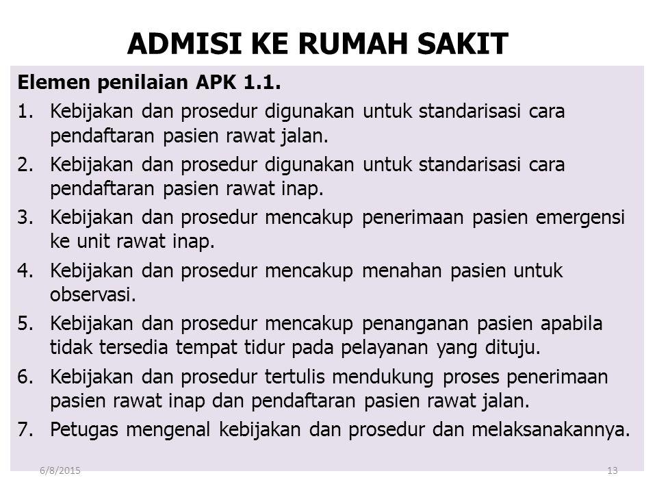 ADMISI KE RUMAH SAKIT Elemen penilaian APK 1.1.