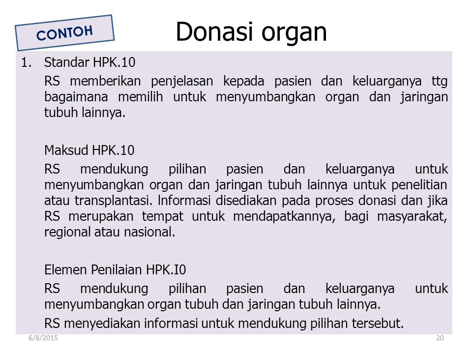 Donasi organ CONTOH 1. Standar HPK.10