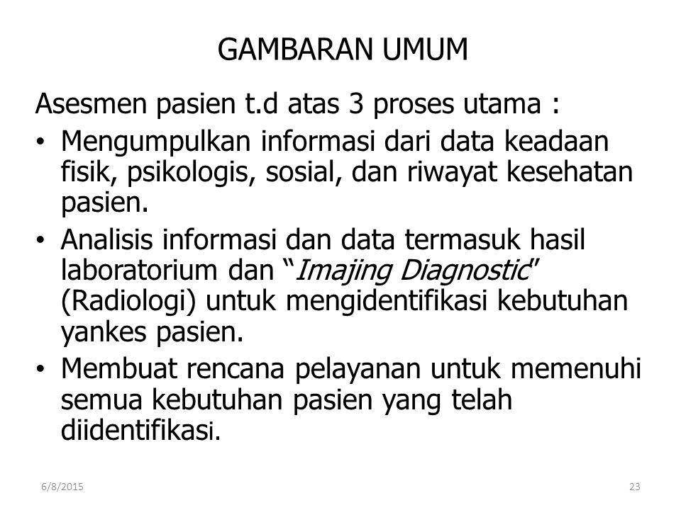 GAMBARAN UMUM Asesmen pasien t.d atas 3 proses utama :