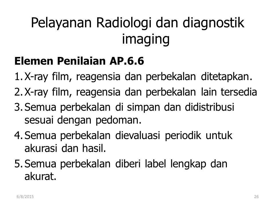 Pelayanan Radiologi dan diagnostik imaging