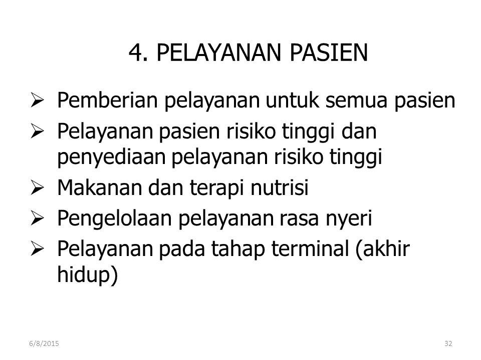4. PELAYANAN PASIEN Pemberian pelayanan untuk semua pasien