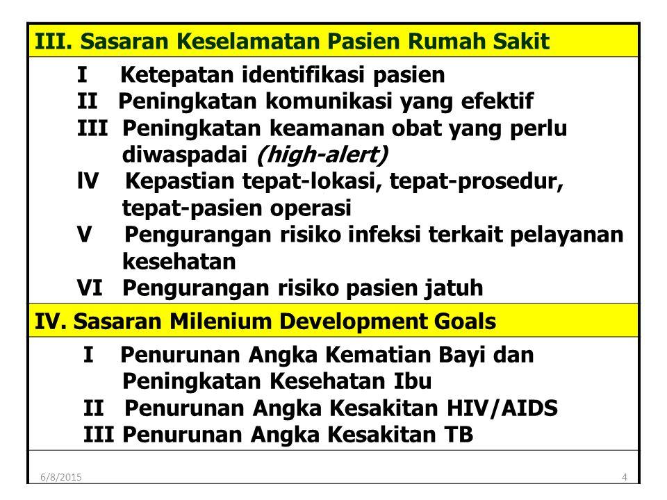 III. Sasaran Keselamatan Pasien Rumah Sakit