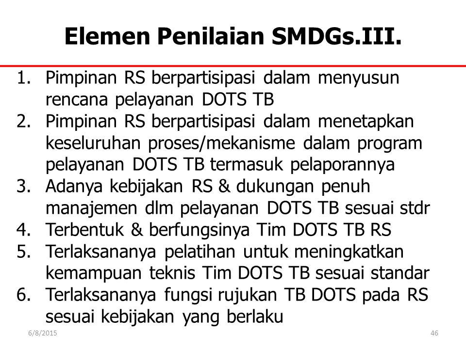 Elemen Penilaian SMDGs.III.