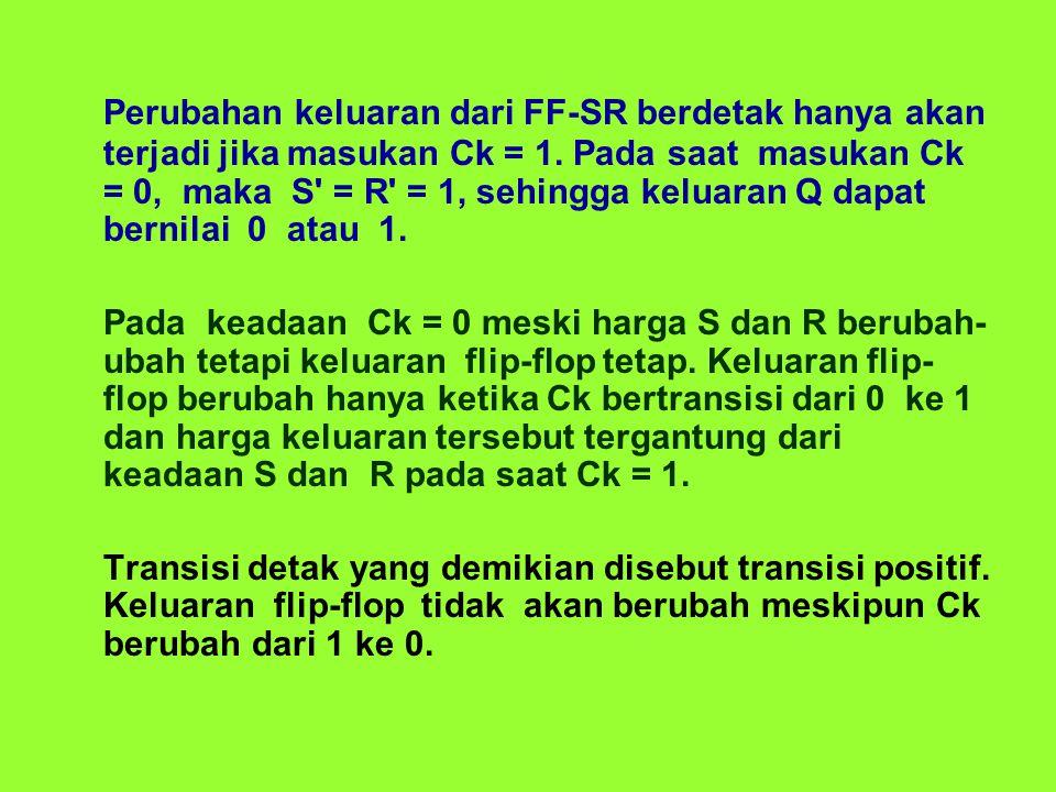 Perubahan keluaran dari FF-SR berdetak hanya akan terjadi jika masukan Ck = 1. Pada saat masukan Ck = 0, maka S = R = 1, sehingga keluaran Q dapat bernilai 0 atau 1.