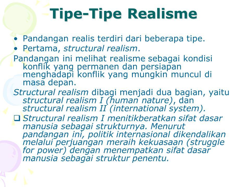 Tipe-Tipe Realisme Pandangan realis terdiri dari beberapa tipe.