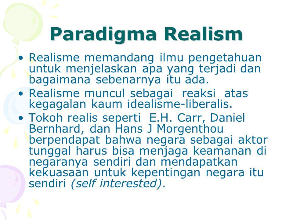 Paradigma Realism Realisme memandang ilmu pengetahuan untuk menjelaskan apa yang terjadi dan bagaimana sebenarnya itu ada.