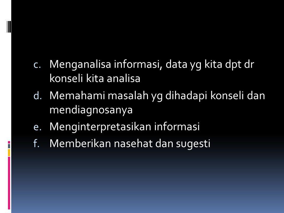 Menganalisa informasi, data yg kita dpt dr konseli kita analisa