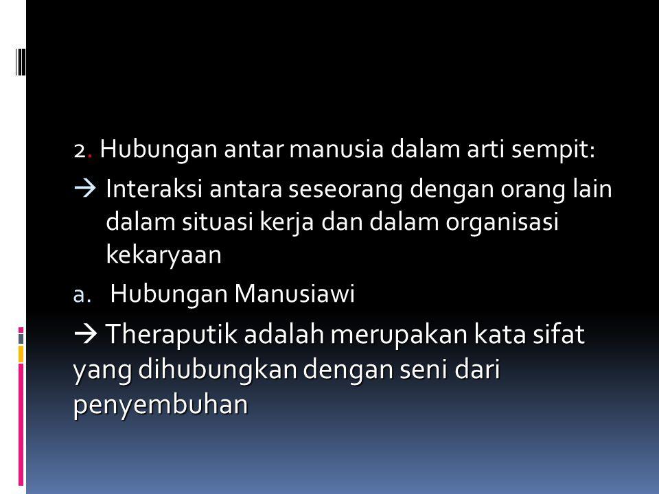 2. Hubungan antar manusia dalam arti sempit: