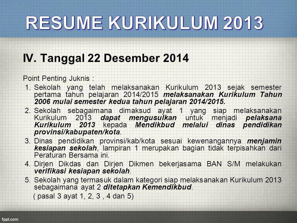 RESUME KURIKULUM 2013 IV. Tanggal 22 Desember 2014