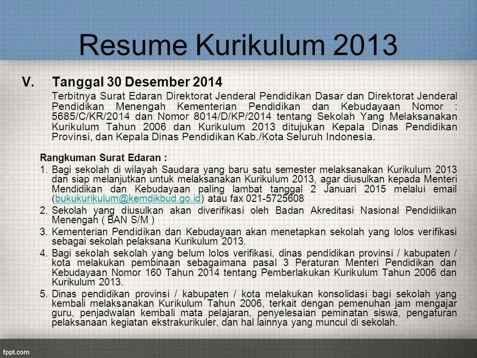 Resume Kurikulum 2013 V. Tanggal 30 Desember 2014