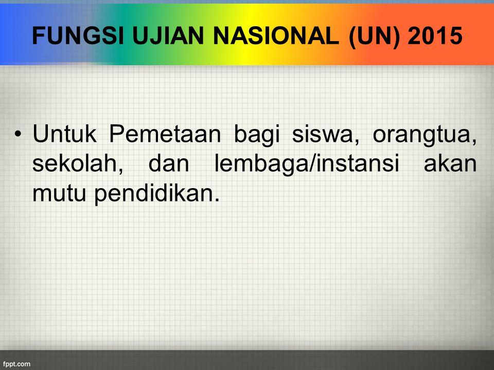 FUNGSI UJIAN NASIONAL (UN) 2015