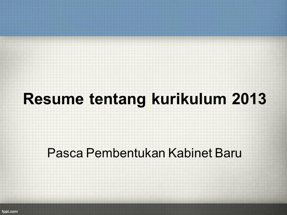 Resume tentang kurikulum 2013