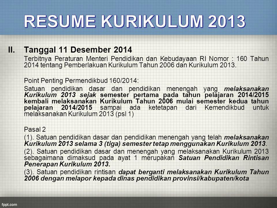 RESUME KURIKULUM 2013 Tanggal 11 Desember 2014