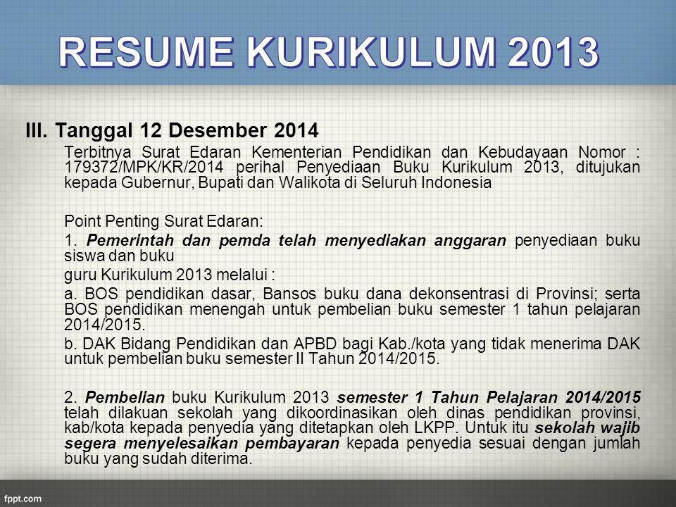 RESUME KURIKULUM 2013 III. Tanggal 12 Desember 2014