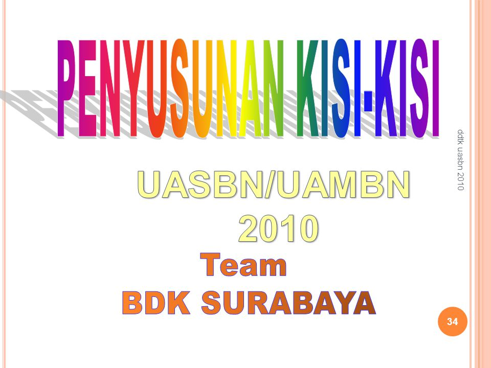 UASBN/UAMBN 2010 PENYUSUNAN KISI-KISI Team BDK SURABAYA