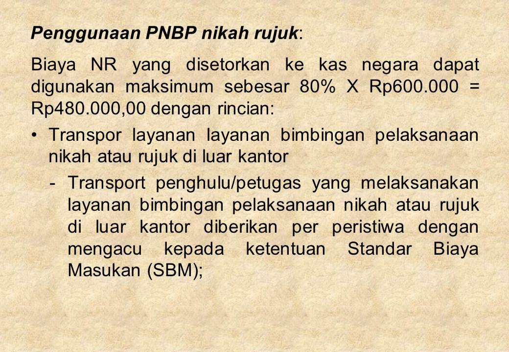 Penggunaan PNBP nikah rujuk: