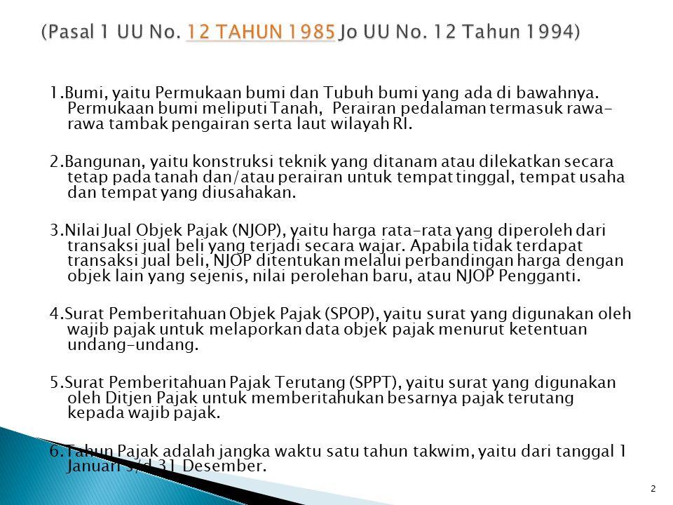 (Pasal 1 UU No. 12 TAHUN 1985 Jo UU No. 12 Tahun 1994)