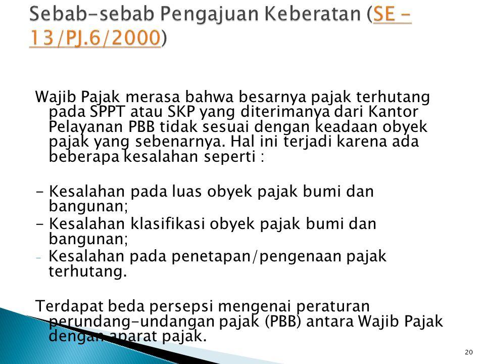 Sebab-sebab Pengajuan Keberatan (SE - 13/PJ.6/2000)