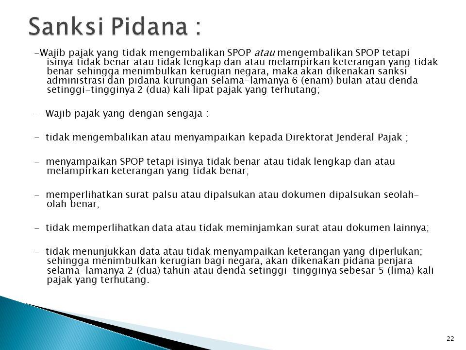 Sanksi Pidana :