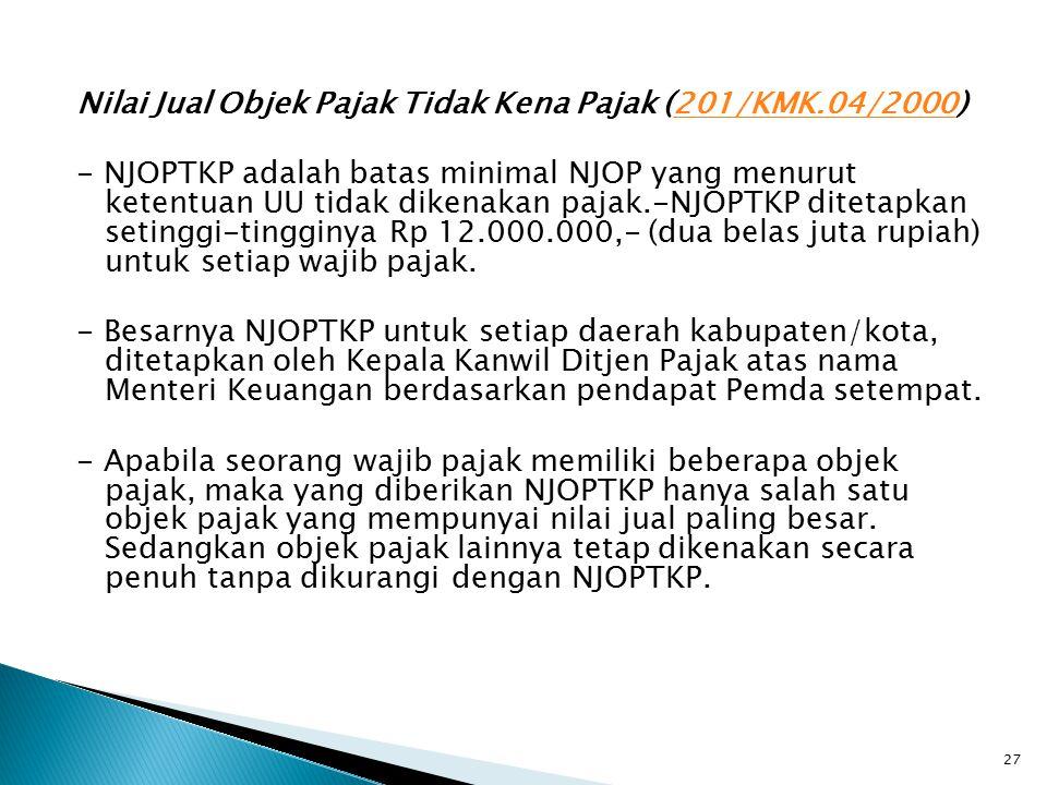 Nilai Jual Objek Pajak Tidak Kena Pajak (201/KMK.04/2000)