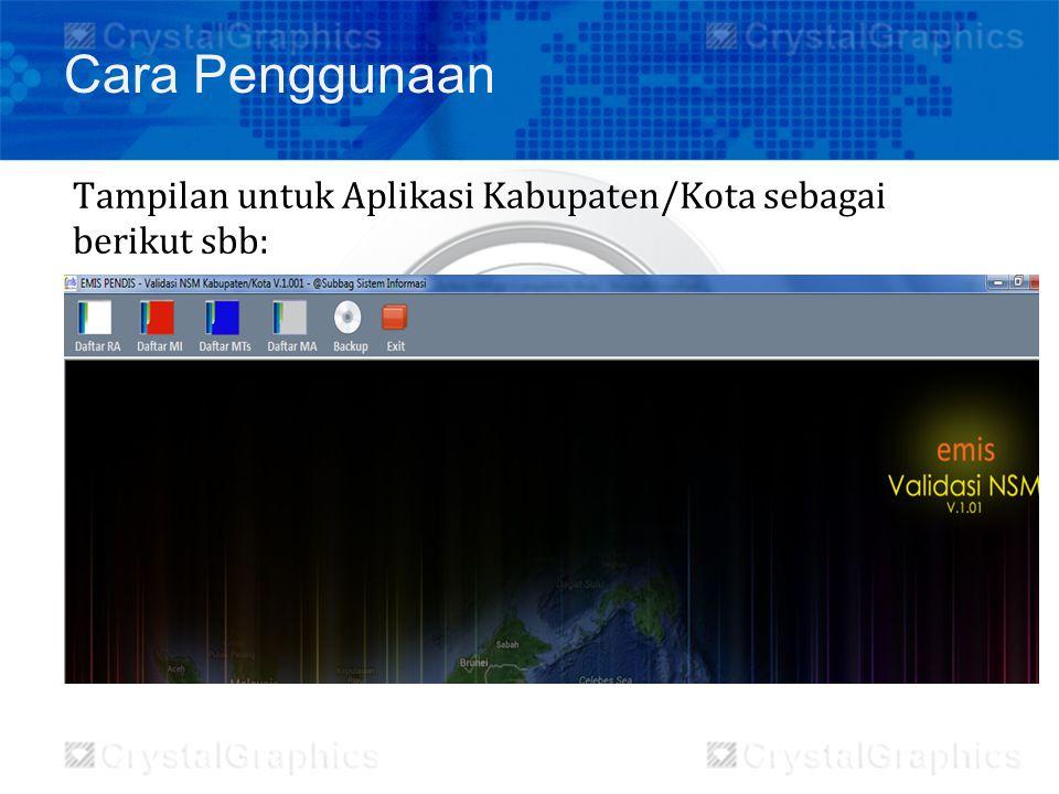 Cara Penggunaan Tampilan untuk Aplikasi Kabupaten/Kota sebagai berikut sbb: