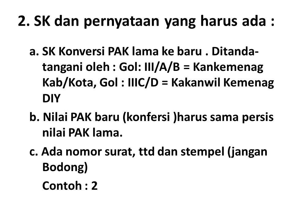 2. SK dan pernyataan yang harus ada :