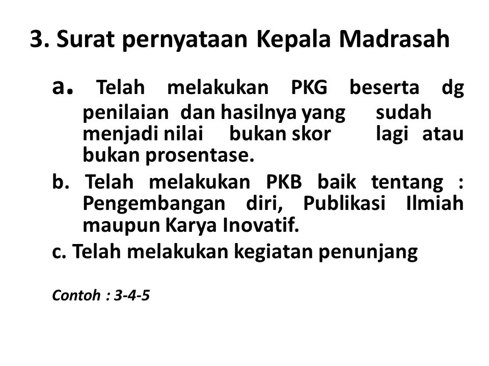 3. Surat pernyataan Kepala Madrasah