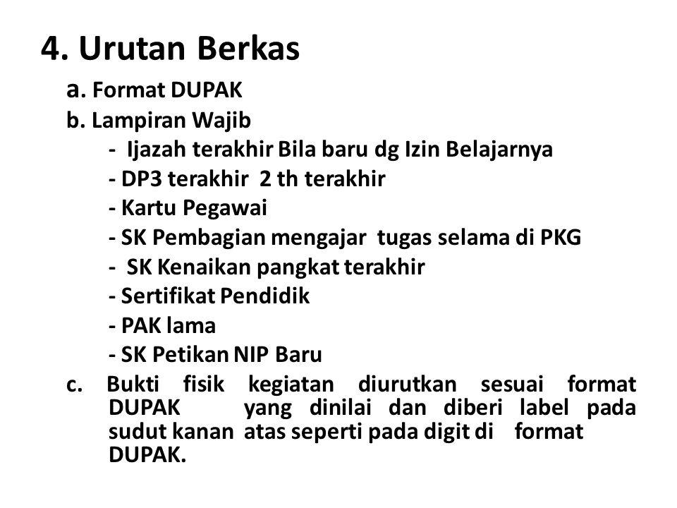 4. Urutan Berkas a. Format DUPAK b. Lampiran Wajib