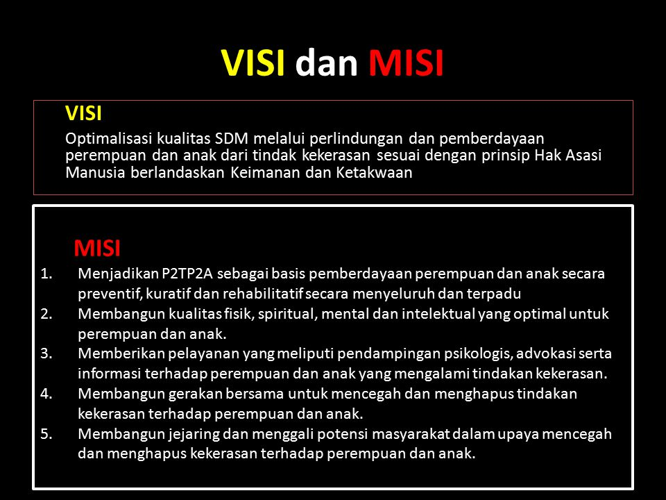 VISI dan MISI VISI.