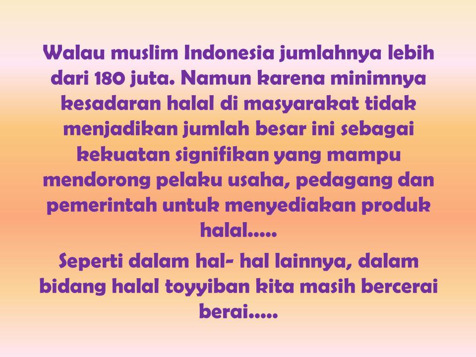 Walau muslim Indonesia jumlahnya lebih dari 180 juta
