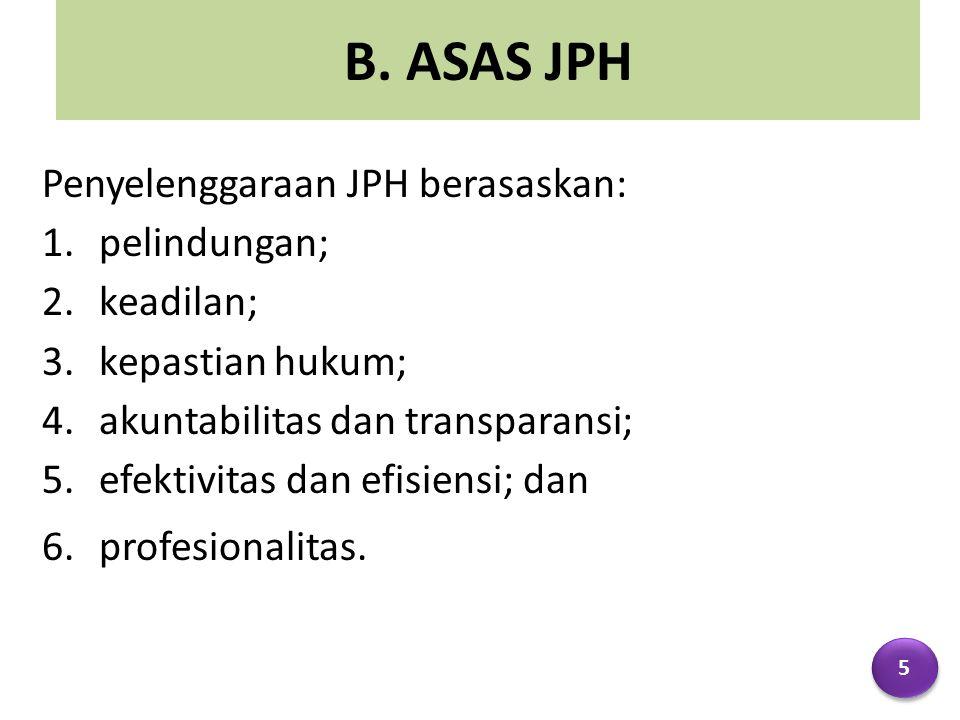 B. ASAS JPH Penyelenggaraan JPH berasaskan: pelindungan; keadilan;